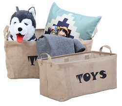 Finnhomy 2 Pack Extra Large Storage Baskets Storage Bins Toy Chest Bins for Organizing Nursery,  ...