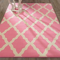 Ottomanson Glamour Collection Contemporary Moroccan Trellis Design Kids Rug (Non-Slip) Kitchen a ...