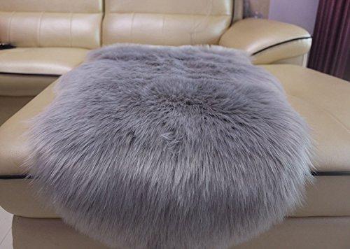 huahoo faux fur sheepskin rug light gray kids carpet soft faux sheepskin chair cover home d cor. Black Bedroom Furniture Sets. Home Design Ideas