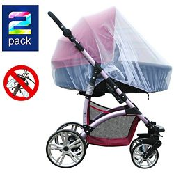 2 Pack Baby Mosquito Net for Strollers Carriers Car Seats Cradles, Portable Durable & Long L ...