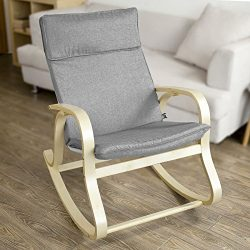 SoBuy Relax Rocking Chair with Adjustable Footrest Design, Lounge Chair Recliner with Side Bag a ...