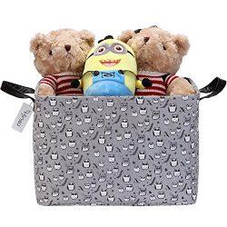 Hinwo 30L Stylish Grey Base and Cute Owl Pattern Storage Bin Basket Canvas Fabric Toy Chest Orga ...