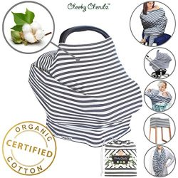 ☆ Organic Cotton ☆ 6-in-1 Carseat Canopy & Nursing Cover, Ultra Soft & Stretchy Breastfe ...