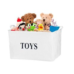 "Ilyever White 17″Jute ""TOYS""Storage Basket Bin Storage Box Perfect for Organiz ..."