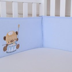 Padded Crib Bumper Set for Baby Boys, Premium Woven Cotton Crib Liner, 4 Piece/Blue, Embroidered ...