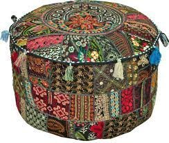 "Rajasthali"" Bohemian Patch Work Ottoman Cover,Traditional Vintage Indian Pouf Floor/Foot S ..."