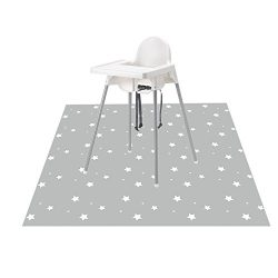 Splat Mat for Under High Chair/Arts/Crafts, Wo Baby Washable Spill Mat Waterproof Anti-slip Floo ...