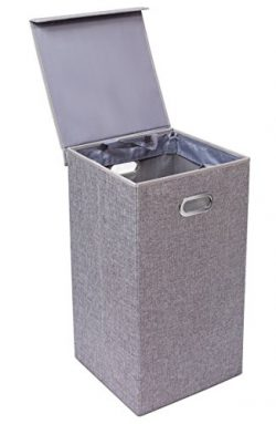 BirdRock Home Single Laundry Hamper with Lid and Removable Liner | Linen | Easily Transport Laun ...