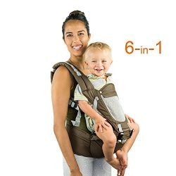 Front Back Baby Carrier with Hipseat – 6 Position 360° Ergonomic All Seasons Child Sling f ...
