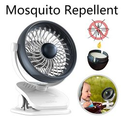 Houselog Clip On Stroller Fan, USB Powered and Rechargeable Battery Operated Desk Fan, Mosquito- ...