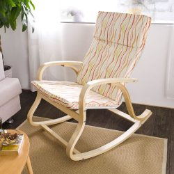 SoBuy Comfortable Relax Rocking Chair, Gliders, Lounge Chair with Cotton Fabric Cushion,FST15 (F ...