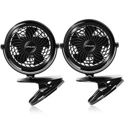 OPOLAR Clip on Fan, USB or Battery Operated [4 AA Batteries Required(not included)], Desk Fan wi ...