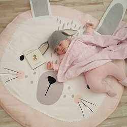 Trycooling Cute Bunny Shape Baby Play Mat Crawling Mat Floor Round Carpet Kids Nursery Rug Child ...