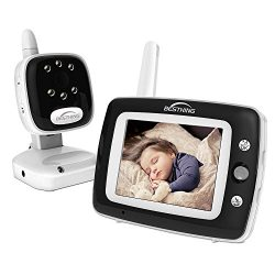 3.5-inch Digital Video Baby Monitor with Infrared Night Vision, Soothing Lullabies, Two Way Audi ...