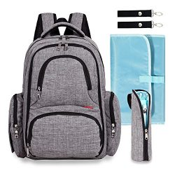 Big Sale – Baby Diaper Bag Waterproof Travel Diaper Backpack with Changing Pad and Strolle ...