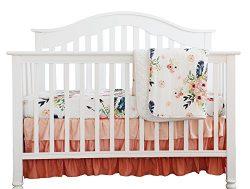 Boho Coral Feather Floral Ruffle Baby Minky Blanket Peach Floral Nursery Crib Skirt Set Baby Gir ...