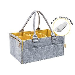Portable Diaper Caddy : Changing Table Organizer with Spacious Pockets and Removable Compartment ...