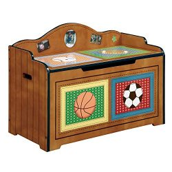 Fantasy Fields Lil' Sports Fan Thematic Kids Wooden Toy Chest with Safety Hinges | Imagina ...