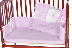 Baby Doll Bedding Gingham with Bear Applique Mini Crib/ Port-a-Crib Bedding Set, Lavender