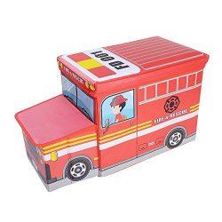 OVI Toys Storage Box Toy Bin Toy Chest Foldable Storage Seat – Fire Truck