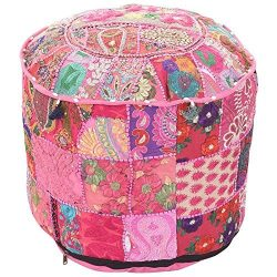 Indian Vintage Patchwork Ottoman Pouf , Indian Living Room Pouf, Foot Stool, Round Ottoman Cover ...
