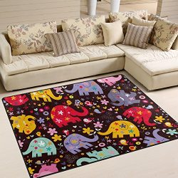 YZGO Cute Elephant Birds Flowers Kids Area Rug, Non-Slip Floor Mat Soft Resting Area Doormats fo ...