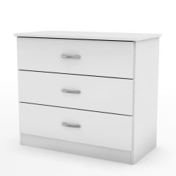 South Shore Libra Collection 3-Drawer Dresser, Pure White Metal Handles in Pewter Finish