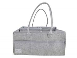 Kind Life Baby Company Portable Baby Diaper Caddy, Car Organizer, and Changing Table Storage Grey