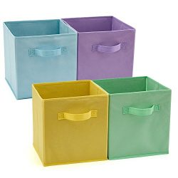 EZOWare Set of 4 Foldable Fabric Basket Bins, Collapsible Storage Cube for Nursery Home and Offi ...