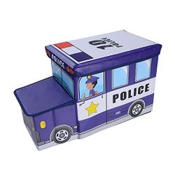 OVI Toys Storage Box Toy Bin Toy Chest Foldable Storage Seat – Police Car
