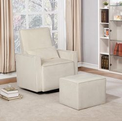 Naomi Home Lorraine Swivel Glider and Ottoman Set Cream