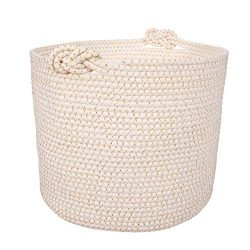 Luxurious Woven Cotton Rope Basket | Decorative, Elegant & Durable Laundry Bin | Ergonomic & ...
