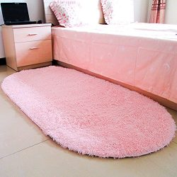 moonrug Ultra Soft Fluffy Oval Area Rugs Shaggy Living Room Rug Solid Color Non-Slip Bedroom Bed ...