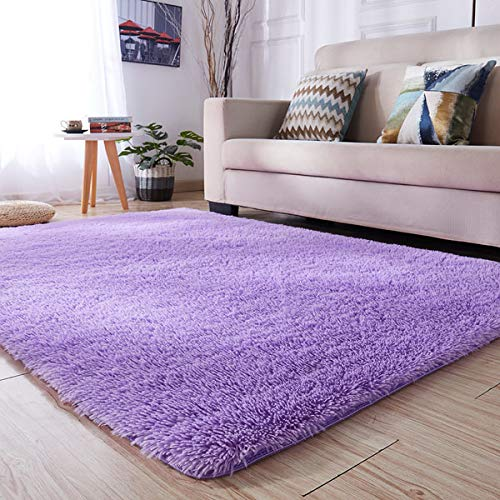PAGISOFE Super Soft Purple Area Rugs For Kids Room Girls