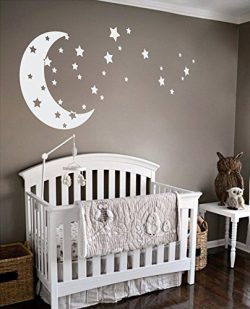 Moon and Stars Night Sky Vinyl Wall Art Decal Sticker Design for Nursery Room DIY Mural Decorati ...