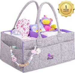 Baby Diaper Caddy Organizer – Baby Shower Gift Basket for Boy Girl – Portable Large  ...