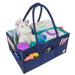 Baby Diaper Caddy Organizer – Portable Felt Bag for Nursery Storage Bins, Car Travel, Chan ...