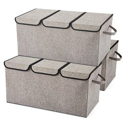 EZOWare Large Storage Boxes [3-Pack] Large Linen Fabric Foldable Storage Cubes Bin Box Container ...