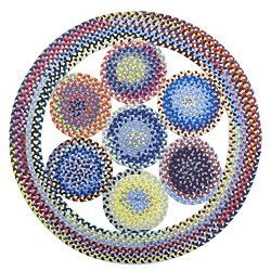LOCHAS Natural Fiber Braided Multicolor Area Rug Hand Woven Reversible Round Solid T/C Carpet fo ...
