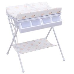 Costzon Baby Changing Table, Folding Diaper Station Nursery Organizer for Infant (White)