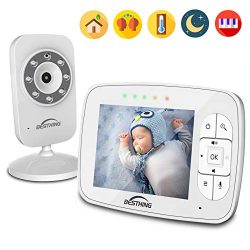 Digital Baby Monitor with 3.5 Inch Color Screen, Smart LED Indicator Light, Night Vision, Soothi ...