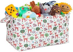 Toy Storage Basket with Woodland Forest Animal Prints – Large Organizer Bin for Kids Toys  ...
