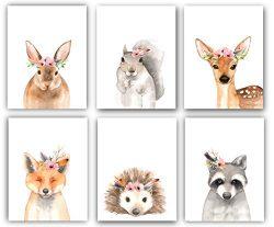 Woodland Floral Crown Animals Nursery Decor Watercolor Art – Set of 6 (UNFRAMED) 8×10 ...