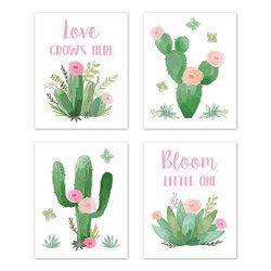 Sweet Jojo Designs Pink and Green Boho Wall Art Prints Room Decor for Baby, Nursery, and Kids fo ...