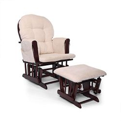 JAXPETY Bow Back Glider and Ottoman with Beige Cushions Beech Wood Rocking Nursing Chair Relax C ...