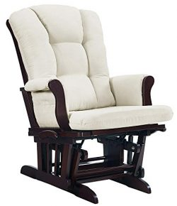 Angel Line Sleigh Reclining Glider, Multi-Position, Espresso with Beige Cushion