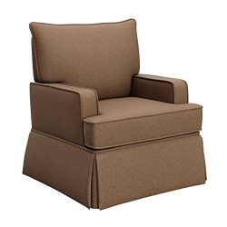 Storkcraft Davenport Upholstered Swivel Glider, Chestnut Cleanable Upholstered Comfort Rocking N ...