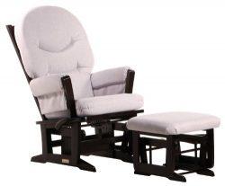Dutailier Modern Glider-Multi-Position Recline and Nursing Ottoman Combo, Espresso/Light Grey