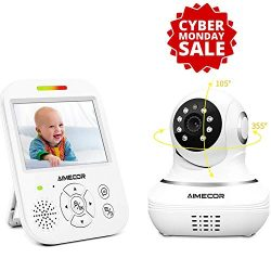 Baby Monitor – 3.5 inch IPS Display, Motorized Pan/Tilt, Infrared Night Vision, 960ft Tran ...