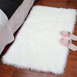 LOCHAS Stylish Ultra Soft Silky Fluffy Shag Faux Sheepskin Area Rug,Rugs for Living Room Bedroom ...